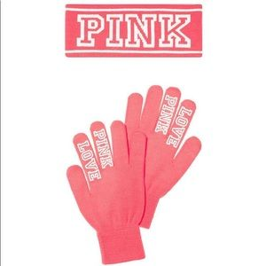 PINK VS; LIMITED EDITION pink gloves and Headband